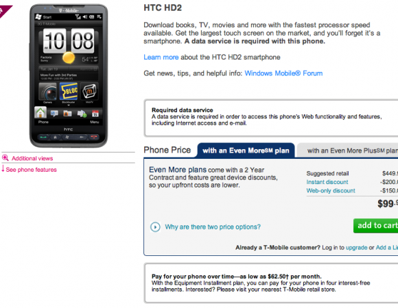 Smart Buy: Today Only T-Mobile's HTC HD2 Is Only $99.99!