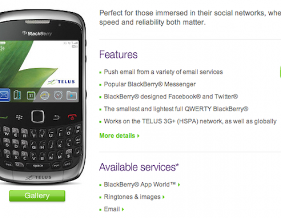 BlackBerry Curve 3G Now Available For Telus Customers