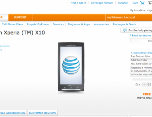 The SonyEricsson Xperia X10 Is Now Available On AT&T