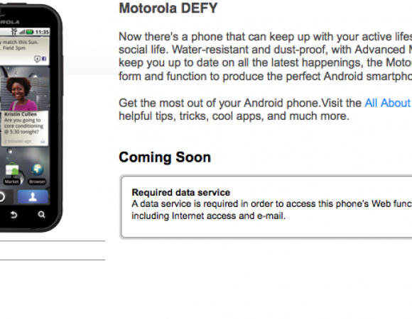 The Motorola Defy Is Now Live On T-Mobile's Page