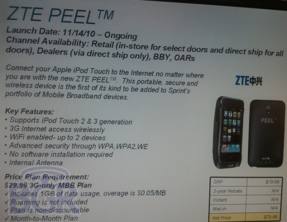 Pricing And Availability Of The ZTE Peel For Sprint