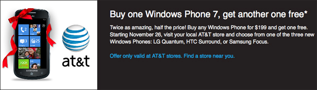 AT&T And Amazon Offers Black Friday Deal On Windows Phone 7