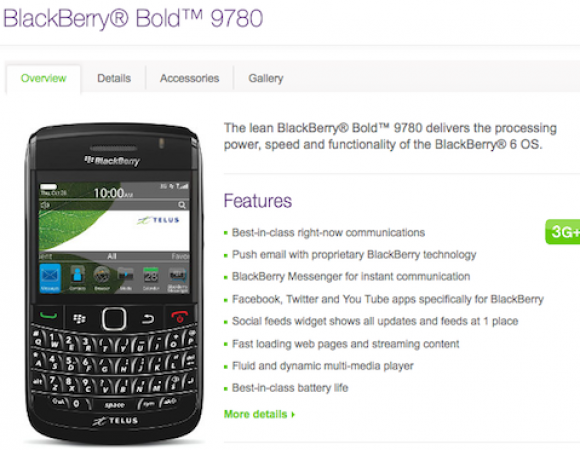 The BlackBerry Bold 9780 Is Now Available For Telus Online