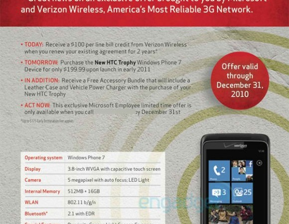 Verizon To Launch Windows Phone 7 With The HTC Trophy In Early 2011