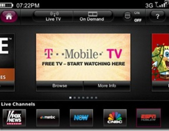 T-Mobile TV Now Supports The BlackBerry Bold 9780 And Curve 9300