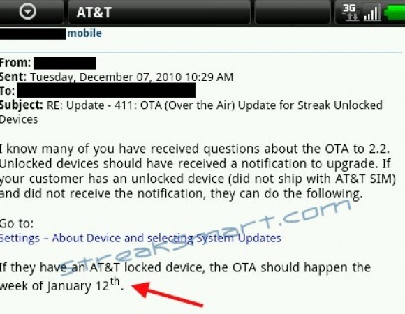 AT&T Dell Streak Will Receive The Android 2.2 Update Mid-January