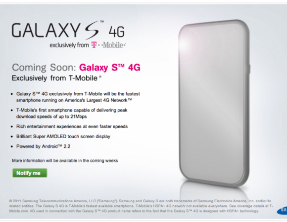 The T-Mobile Vibrant 4G (Galaxy S) Sign Up Page Is Now Live