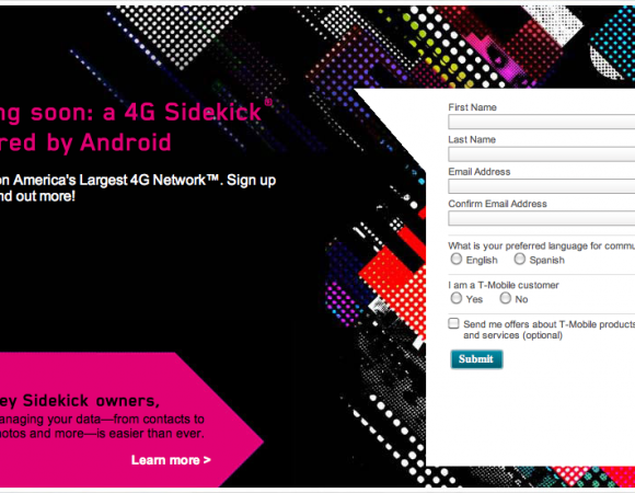 T-Mobile Now Has A Sign Up Page For The New 4G Android Sidekick