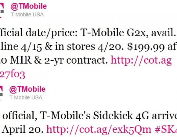 The T-Mobile G2X To Arrive On April 15th Online And In Stores On April 20th Along With The Sidekick 4G
