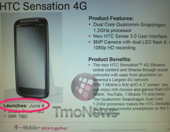 Rumor: More Evidence Points To June 8th As The Release Date For The HTC Sensation For T-Mobile?