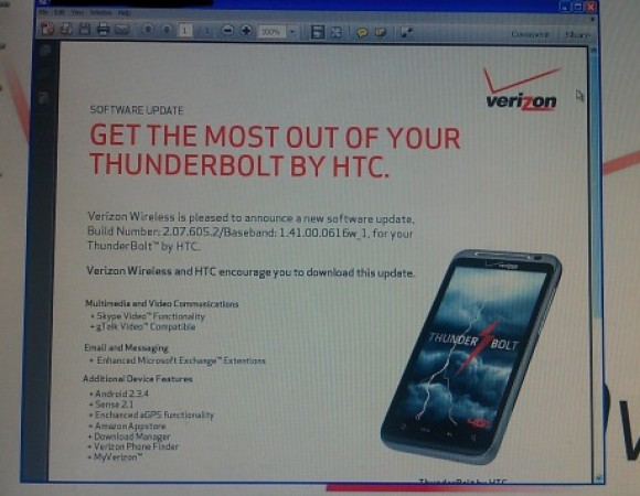 Rumor: Verizon To Update The HTC ThunderBolt To Android 2.3.4 On June 30th, Offering Skype & GTalk Video Chat?