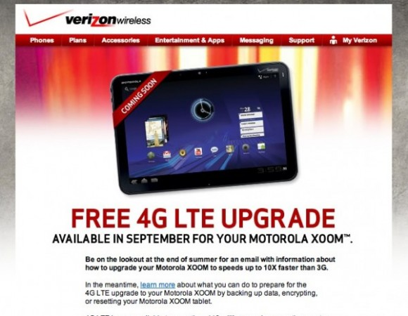 The Motorola XOOM For Verizon To Get 4G LTE Update In September