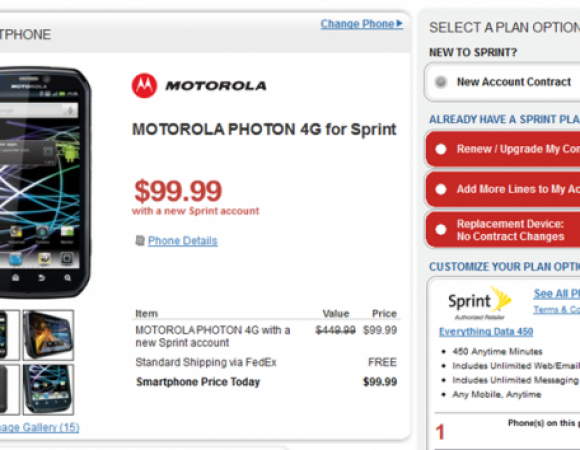 Smart Buy: The Motorola Photon 4G For Sprint Is Now $99.99 At Radio Shack