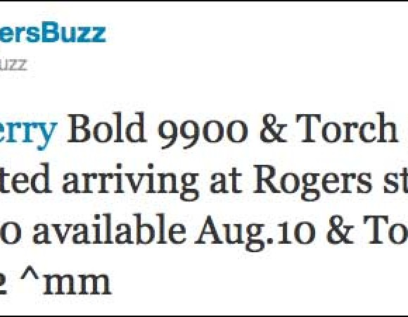 The BlackBerry Bold 9900 For Rogers Is Now Available, The Torch 9810 Is Launching On August 12th