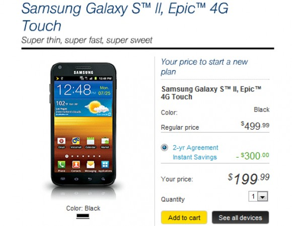 The Samsung Galaxy S II (Epic 4G Touch) For Sprint Available Now For $199.99
