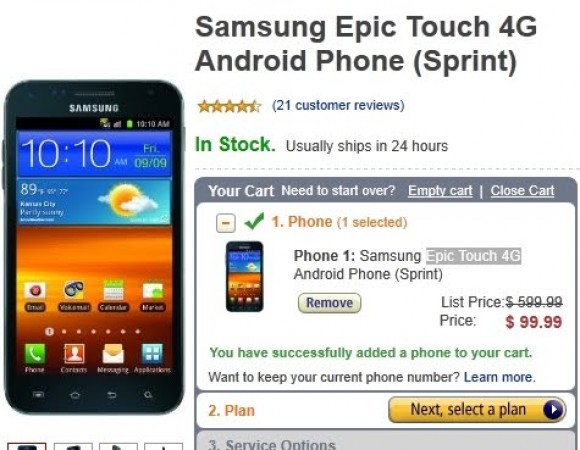 Smart Buy: Get The Samsung Galaxy S II Epic 4G Touch (Sprint) At Amazon For $99