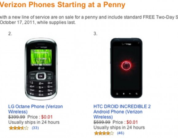 Smart Buy: All Verizon Smartphones Except For The iPhone On Sale For One Penny At Amazon