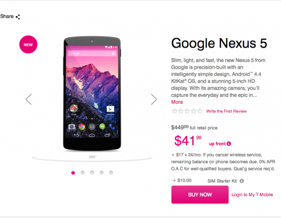 You Can Now Get The Nexus 5 From T-Mobile Online
