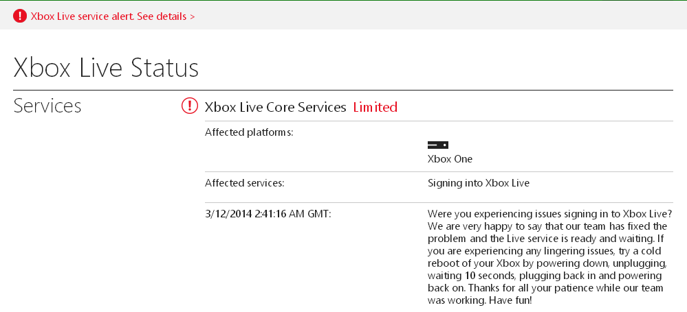 Xbox Live Sign-In Issues Upset Many Titanfall Gamers –